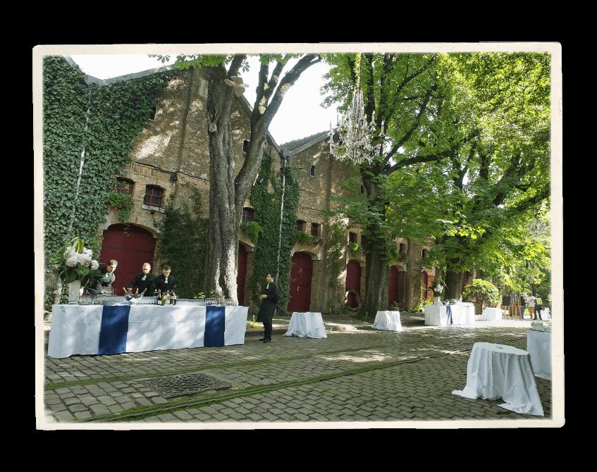 Vue du Théâtre de Verdure à l'occasion d'un cocktail